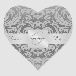 Elegant Gray Damask Heart  Wedding Sticker