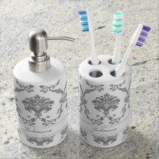 Elegant Gray Damask Pattern Customizable Soap Dispenser & Toothbrush Holder