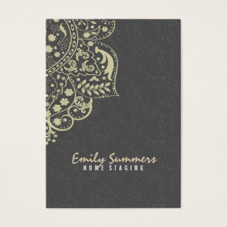 Elegant Gray Damasks Beige Vintage Lace Business Card