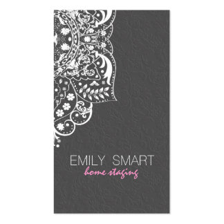 Elegant Gray Damasks White Vintage Lace 2 Double-Sided Standard Business Cards (Pack Of 100)
