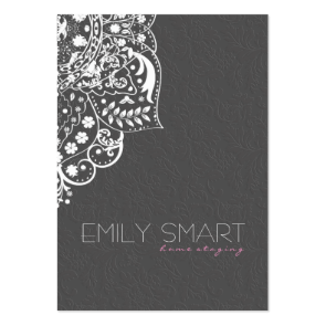 Elegant Gray Damasks White Vintage Lace Business Card Template