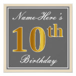 [ Thumbnail: Elegant, Gray, Faux Gold 10th Birthday + Name Invitation ]