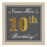 [ Thumbnail: Elegant, Gray, Faux Gold 10th Birthday + Name Poster ]