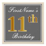 [ Thumbnail: Elegant, Gray, Faux Gold 11th Birthday + Name Invitation ]