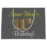 [ Thumbnail: Elegant, Gray, Faux Gold 11th Birthday + Name Gift Bag ]