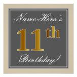 [ Thumbnail: Elegant, Gray, Faux Gold 11th Birthday + Name Poster ]