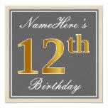 [ Thumbnail: Elegant, Gray, Faux Gold 12th Birthday + Name Invitation ]