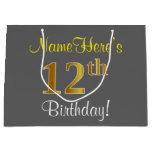 [ Thumbnail: Elegant, Gray, Faux Gold 12th Birthday + Name Gift Bag ]