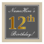 [ Thumbnail: Elegant, Gray, Faux Gold 12th Birthday + Name Poster ]
