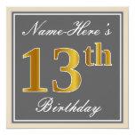 [ Thumbnail: Elegant, Gray, Faux Gold 13th Birthday + Name Invitation ]