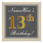 [ Thumbnail: Elegant, Gray, Faux Gold 13th Birthday + Name Poster ]