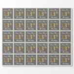 [ Thumbnail: Elegant, Gray, Faux Gold 13th Birthday + Name Wrapping Paper ]