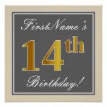 [ Thumbnail: Elegant, Gray, Faux Gold 14th Birthday + Name Poster ]