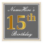 [ Thumbnail: Elegant, Gray, Faux Gold 15th Birthday + Name Invitation ]