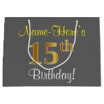 [ Thumbnail: Elegant, Gray, Faux Gold 15th Birthday + Name Gift Bag ]