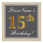 [ Thumbnail: Elegant, Gray, Faux Gold 15th Birthday + Name Poster ]
