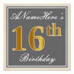 [ Thumbnail: Elegant, Gray, Faux Gold 16th Birthday + Name Invitation ]
