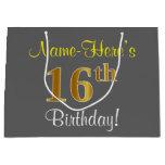 [ Thumbnail: Elegant, Gray, Faux Gold 16th Birthday + Name Gift Bag ]