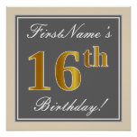 [ Thumbnail: Elegant, Gray, Faux Gold 16th Birthday + Name Poster ]