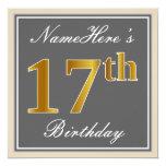 [ Thumbnail: Elegant, Gray, Faux Gold 17th Birthday + Name Invitation ]