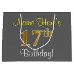 [ Thumbnail: Elegant, Gray, Faux Gold 17th Birthday + Name Gift Bag ]