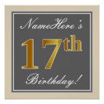 [ Thumbnail: Elegant, Gray, Faux Gold 17th Birthday + Name Poster ]