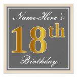 [ Thumbnail: Elegant, Gray, Faux Gold 18th Birthday + Name Invitation ]
