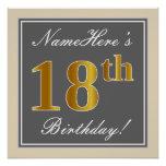 [ Thumbnail: Elegant, Gray, Faux Gold 18th Birthday + Name Poster ]