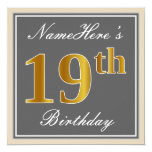 [ Thumbnail: Elegant, Gray, Faux Gold 19th Birthday + Name Invitation ]