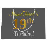 [ Thumbnail: Elegant, Gray, Faux Gold 19th Birthday + Name Gift Bag ]