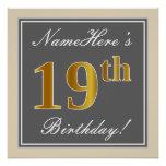[ Thumbnail: Elegant, Gray, Faux Gold 19th Birthday + Name Poster ]