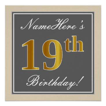 Elegant, Gray, Faux Gold 19th Birthday   Name Poster