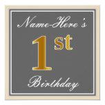 [ Thumbnail: Elegant, Gray, Faux Gold 1st Birthday; Custom Name Invitation ]