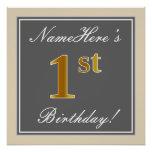 [ Thumbnail: Elegant, Gray, Faux Gold 1st Birthday; Custom Name Poster ]