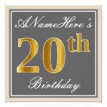 [ Thumbnail: Elegant, Gray, Faux Gold 20th Birthday + Name Invitation ]