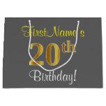 [ Thumbnail: Elegant, Gray, Faux Gold 20th Birthday + Name Gift Bag ]