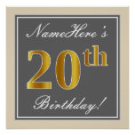 [ Thumbnail: Elegant, Gray, Faux Gold 20th Birthday + Name Poster ]