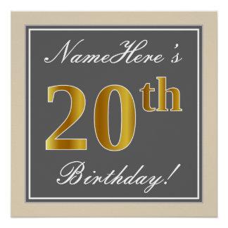 Elegant, Gray, Faux Gold 20th Birthday + Name Poster