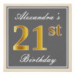 [ Thumbnail: Elegant, Gray, Faux Gold 21st Birthday + Name Invitation ]