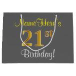 [ Thumbnail: Elegant, Gray, Faux Gold 21st Birthday + Name Gift Bag ]