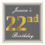 [ Thumbnail: Elegant, Gray, Faux Gold 22nd Birthday + Name Invitation ]