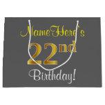 [ Thumbnail: Elegant, Gray, Faux Gold 22nd Birthday + Name Gift Bag ]