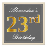 [ Thumbnail: Elegant, Gray, Faux Gold 23rd Birthday + Name Invitation ]
