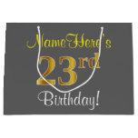 [ Thumbnail: Elegant, Gray, Faux Gold 23rd Birthday + Name Gift Bag ]