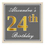 [ Thumbnail: Elegant, Gray, Faux Gold 24th Birthday + Name Invitation ]
