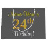 [ Thumbnail: Elegant, Gray, Faux Gold 24th Birthday + Name Gift Bag ]