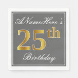 [ Thumbnail: Elegant Gray, Faux Gold 25th Birthday; Custom Name Napkin ]