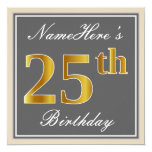 [ Thumbnail: Elegant, Gray, Faux Gold 25th Birthday + Name Invitation ]