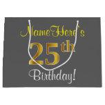 [ Thumbnail: Elegant, Gray, Faux Gold 25th Birthday + Name Gift Bag ]
