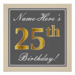 [ Thumbnail: Elegant, Gray, Faux Gold 25th Birthday + Name Poster ]